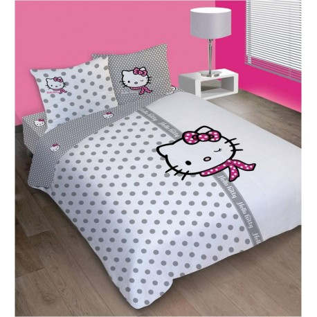 housse de couette hello kitty couture 200 x 200 dvfstore. Black Bedroom Furniture Sets. Home Design Ideas