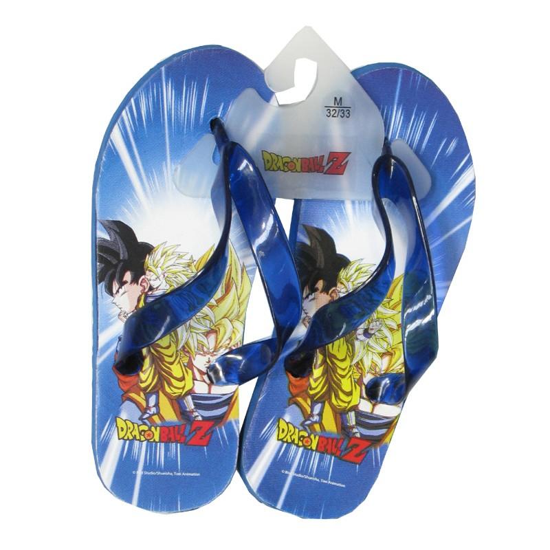 pantoufle chaussons tong dragon ball z bleu sangoku saiyan