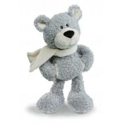 peluche nici mme ours 35 cm avec écharpe blanche