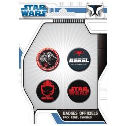badges star wars - pack de 4 badges rebel symbols