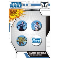 badges clone wars - pack de 4 badges characters n°1