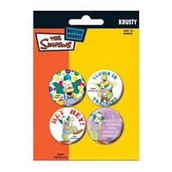 badges les simpsons - pack de 4 badges krusty le clown