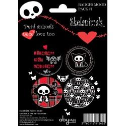 badges skelanimals - pack de 4 badges mood pack série 1