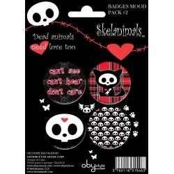 badges skelanimals - pack de 4 badges mood pack série 2