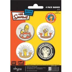badges les simpsons - pack de 4 badges homer