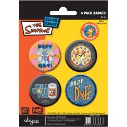 badges les simpsons - pack de 4 badges duff