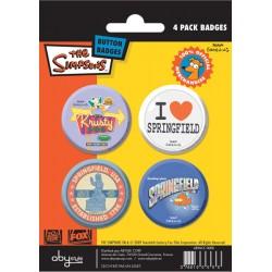 badges les simpsons - pack de 4 badges springfield