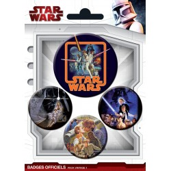 badges star wars - pack de 4 badges vintage