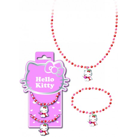 collier et bracelet hello kitty mini perles cherry