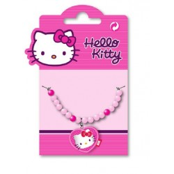 collier hello kitty coeur perles