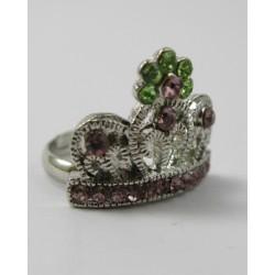 bague couronne rose et verte taille réglable