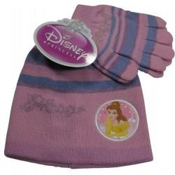 bonnet et gants disney princess rose taille 2-4 ans