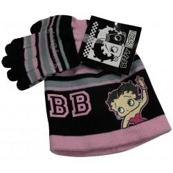 bonnet et gants betty boop noir taille 2-4 ans