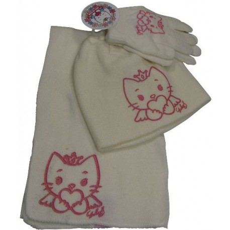 bonnet-gants-echarpe angel cat sugar ecru