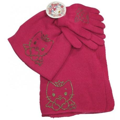 bonnet-gants-echarpe angel cat sugar fuchsia