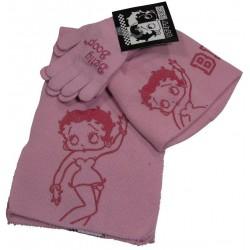 bonnet-gants et echarpe betty boop rose taille 2-5 ans