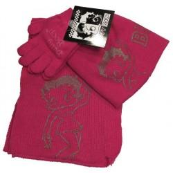 bonnet-gants et echarpe betty boop fuchsia taille 2-5 ans