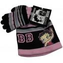 bonnet et gants betty boop noir taille 6-8 ans