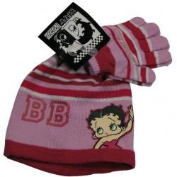 bonnet et gants betty boop rose taille 6-8 ans