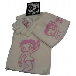 bonnet-gants et echarpe betty boop blanc taille 6-10 ans
