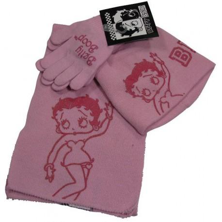 bonnet-gants et echarpe betty boop rose taille 6-10 ans