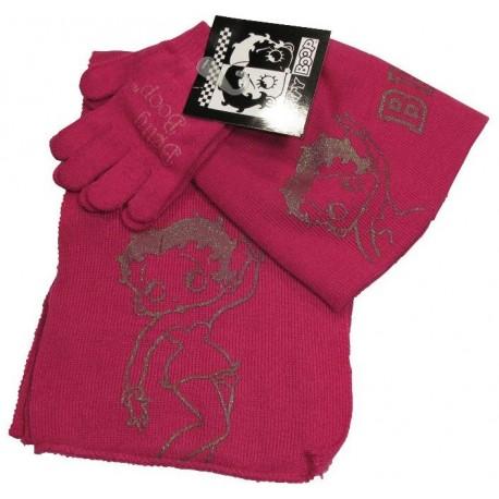 bonnet-gants et echarpe betty boop fuchsia taille 6-10 ans