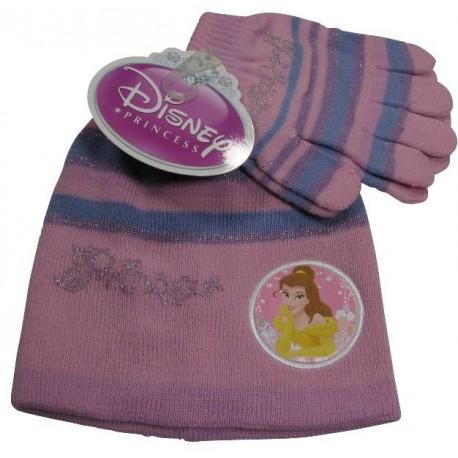 bonnet et gants disney princess rose taille 6-8 ans