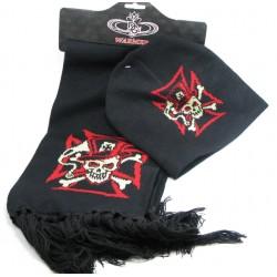 echarpe + bonnet gothique emo crane