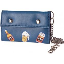 simpsons - portefeuille bleu à l'effigie de la biére duff