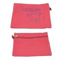 mini-pochette pucca plate zippé rouge