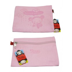 mini-pochette pucca plate zippé rose