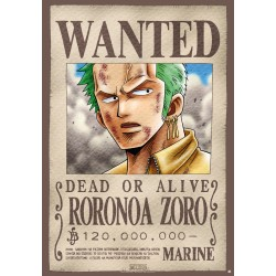 poster one piece plastifié grand format wanted zoro