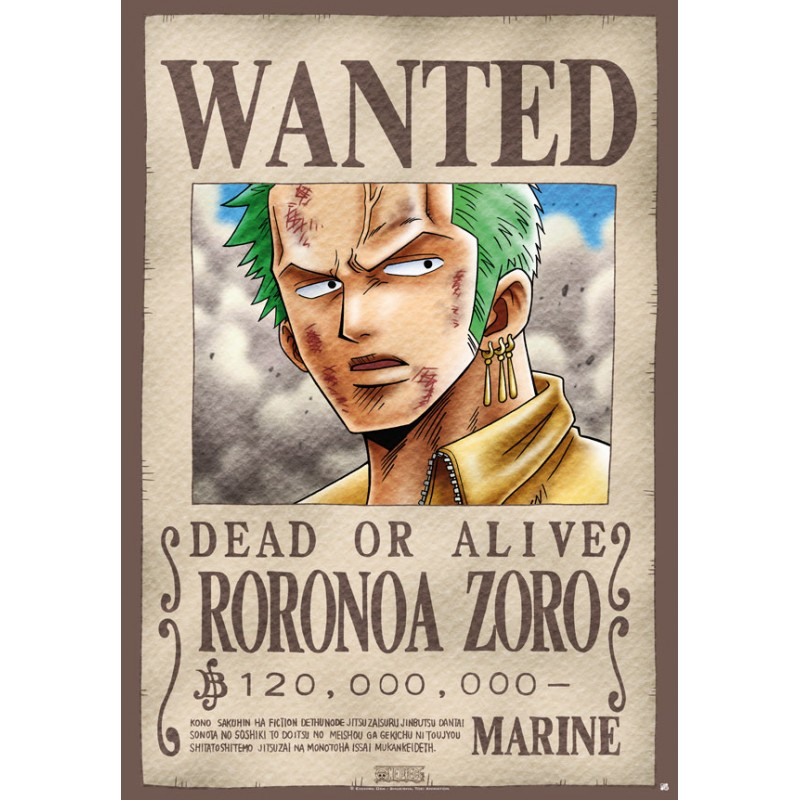 poster one piece plastifi grand format wanted zoro. Black Bedroom Furniture Sets. Home Design Ideas