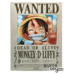 plaque métal one piece luffy wanted