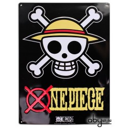 plaque métal one piece skull luffy