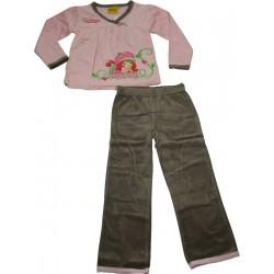 pyjalong velours charlotte aux fraises gris-rose (2 à 6 ans)
