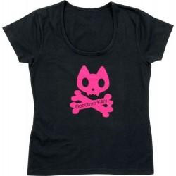 t-shirt goodbye kitty rose et noir