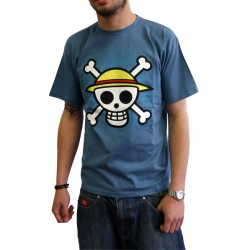 t-shirt one piece basic bleu homme tête de mort