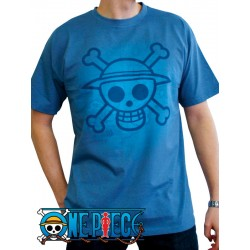 t-shirt one piece bleu skull with map used version