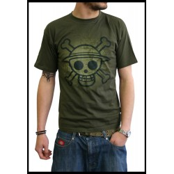 t-shirt one piece kaki skull with map used version