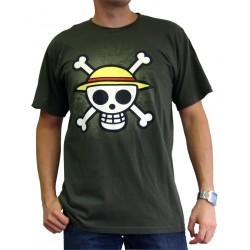 t-shirt one piece basic homme tête de mort kaki