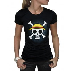 t-shirt one piece skull with map femme