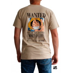 t-shirt wanted luffy beige
