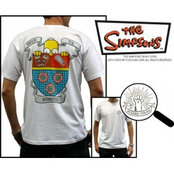 t-shirt simpsons homme blanc beer tv donuts