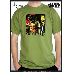 t shirt star wars basic homme green pop art