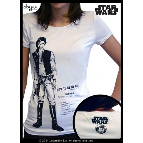 t-shirt star wars basic femme blanc han solo