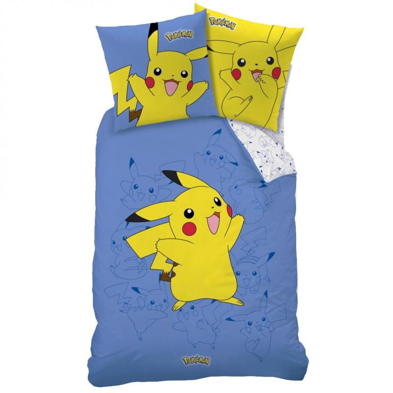 housse de couette pok mon pikachu avec taie. Black Bedroom Furniture Sets. Home Design Ideas