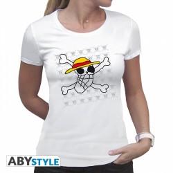 T-Shirt ONE PIECE - Basic Femme Skull Dessin De Luffy