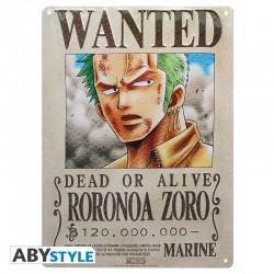 Plaque metal ONE PIECE Zoro Wanted