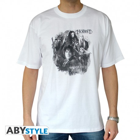 """THE HOBBIT - Tshirt """"groupe"""" homme MC white - SPECIAL PRICE"""
